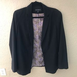 Sharagano black 1 button blazer lavender lining 8